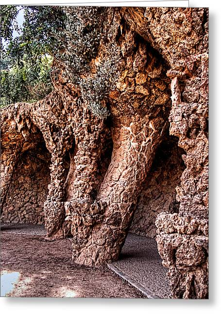 Ultra Modern Greeting Cards - Park Guell Colonnade No1 Unframed Greeting Card by Weston Westmoreland