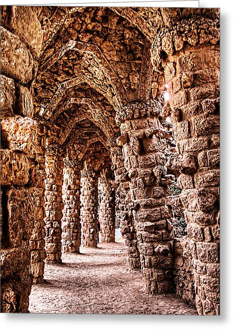 Ultra Modern Greeting Cards - Park Guell Colonnade No3 Unframed Greeting Card by Weston Westmoreland