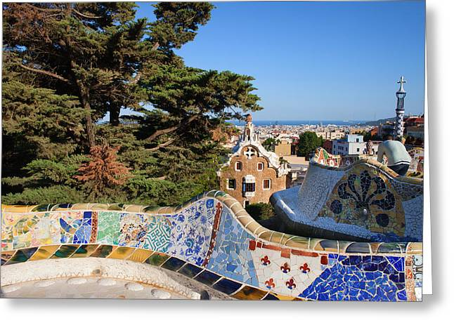 Catalunya Greeting Cards - Park Guell in Barcelona Greeting Card by Artur Bogacki