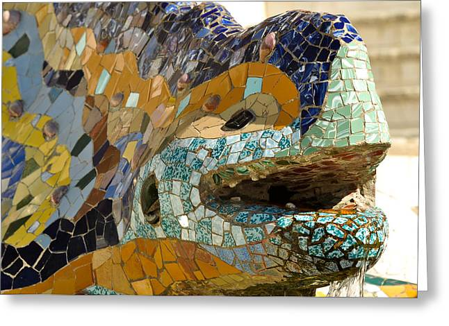 Ceramic Sculpture Greeting Cards - Park Guell Lizard Greeting Card by Brandon Bourdages