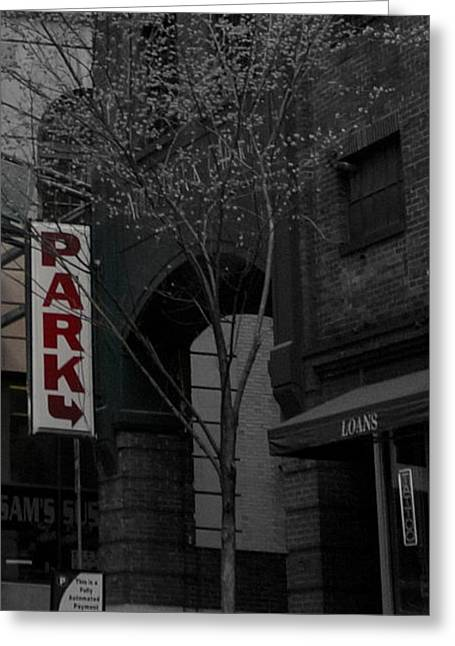 Photographs With Red. Greeting Cards - Park Here Greeting Card by Laurie Pike