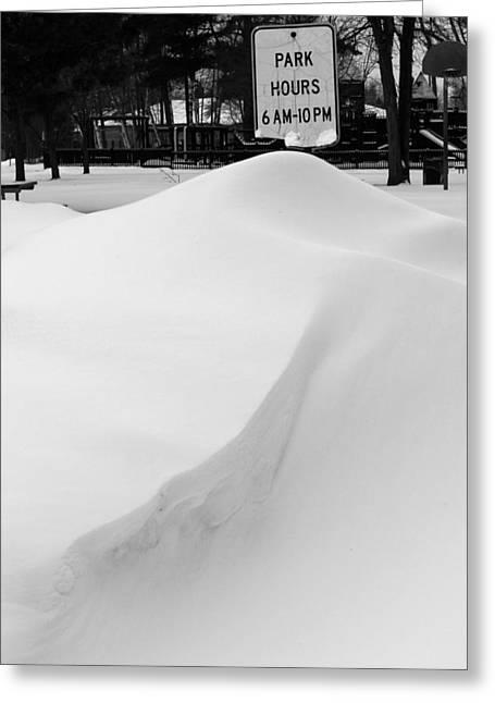 Drifting Snow Greeting Cards - Park Hours Greeting Card by Mary Bedy