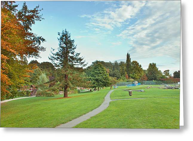 Abbey Greeting Cards - Park in autumn Greeting Card by Tom Gowanlock