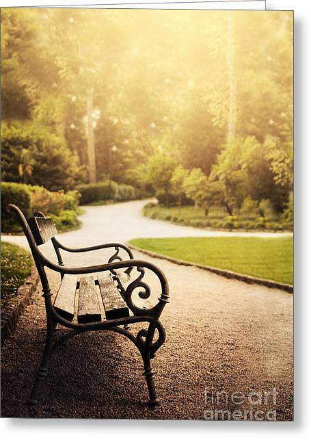 Park Benches Greeting Cards - Park Greeting Card by Jelena Jovanovic