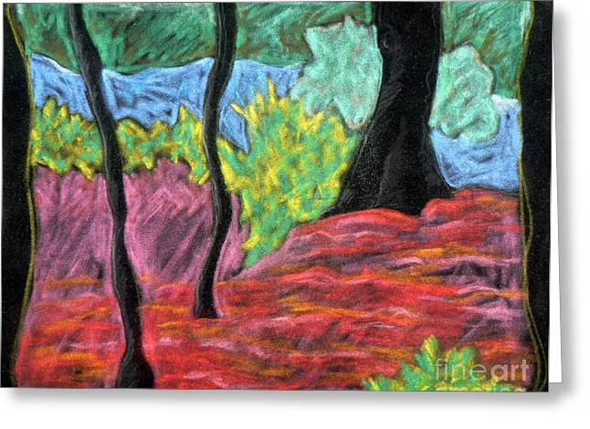 Fauvist Style Greeting Cards - Park Landscape Greeting Card by Elizabeth Fontaine-Barr