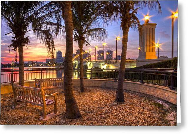 Flagler Greeting Cards - Park on the West Palm Beach Wateway Greeting Card by Debra and Dave Vanderlaan