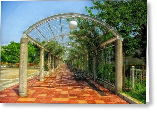 """""""japan City"""" Greeting Cards - Park Perspective Greeting Card by Mountain Dreams"""