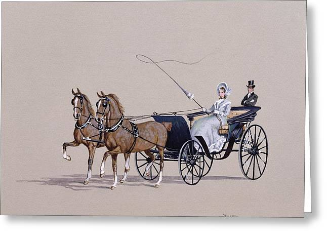 Horse Whip Greeting Cards - Park Phaeton Greeting Card by Ninetta Butterworth