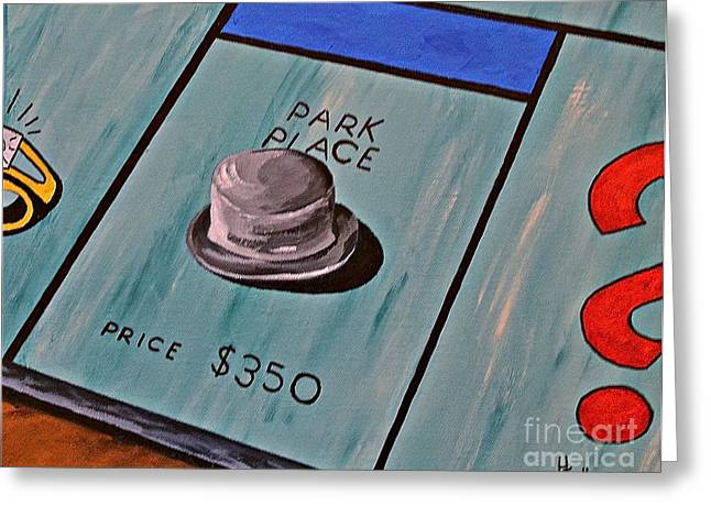 Monopoly Paintings Greeting Cards - Park Place Greeting Card by Herschel Fall