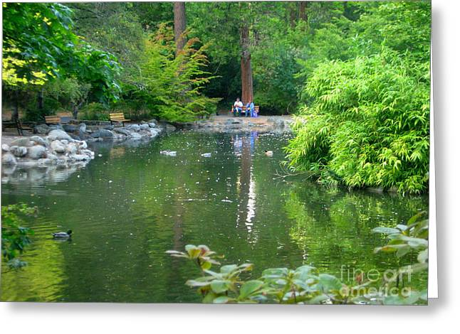 Park  Pond Greeting Card by Shasta Eone