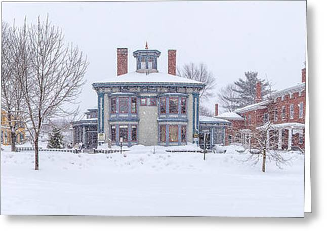 Winter In Maine Greeting Cards - Park Row Panorama Greeting Card by Benjamin Williamson