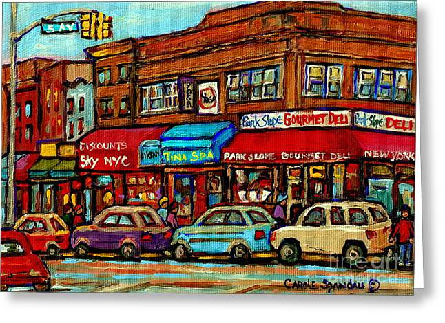 Take-out Greeting Cards - Park Slope Gourmet Deli 5th Avenue New York Paintings Storefronts Street Scenes Carole Spandau Greeting Card by Carole Spandau