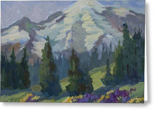 Pacific Northwest Paintings Greeting Cards - Park Sunrise at Mount Rainier Greeting Card by Diane McClary