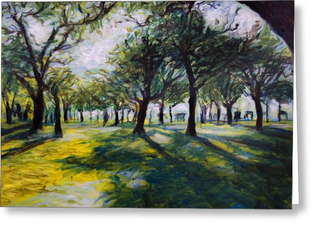 Park Scene Paintings Greeting Cards - Park Trees Greeting Card by Ron Richard Baviello