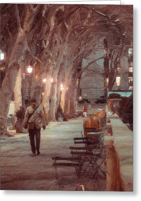 Emmanouil Greeting Cards - Park Walk Greeting Card by Emmanouil Klimis