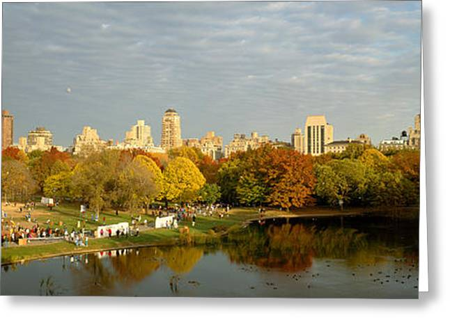 People In Autumn Greeting Cards - Park With Buildings In The Background Greeting Card by Panoramic Images