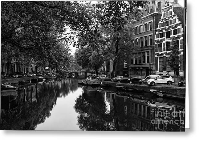 Parked Cars Greeting Cards - Parked Along the Canal mono Greeting Card by John Rizzuto