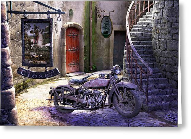 Motorcycles Greeting Cards - Parked at the Inn Greeting Card by Gary Hanna