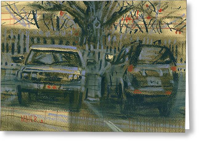 Car Pastels Greeting Cards - Parked Greeting Card by Donald Maier