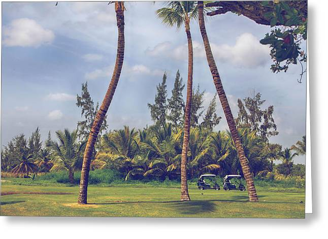 Tropical Golf Course Greeting Cards - Parked Greeting Card by Laurie Search