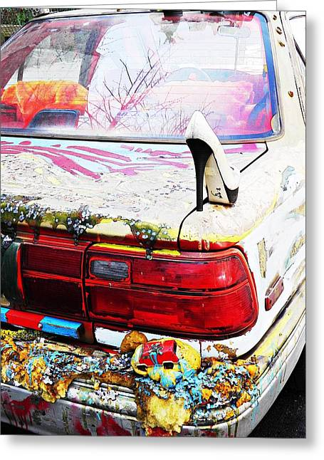Outsider Art Sculptures Greeting Cards - Parked on a New York Street Greeting Card by Sarah Loft