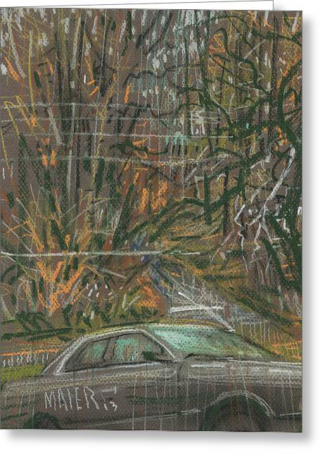 Car Park Greeting Cards - Parked on the Hill Greeting Card by Donald Maier