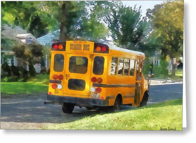 Bus Greeting Cards - Parked School Bus Greeting Card by Susan Savad