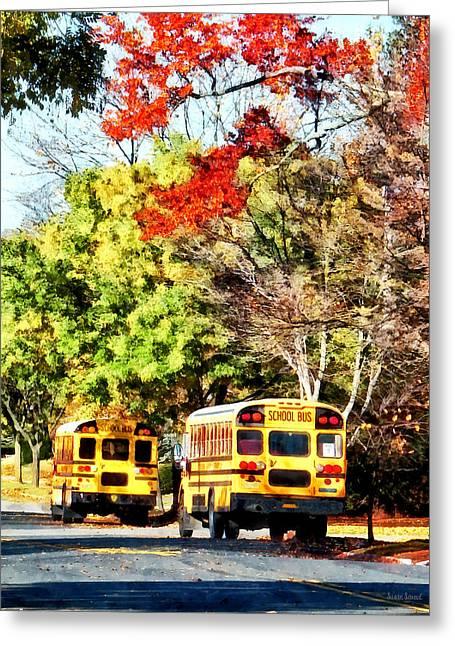 Buses Greeting Cards - Parked School Buses Greeting Card by Susan Savad