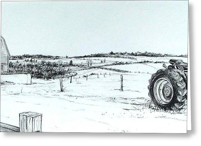 Steering Drawings Greeting Cards - Parked Tractor  Greeting Card by Scott Nelson