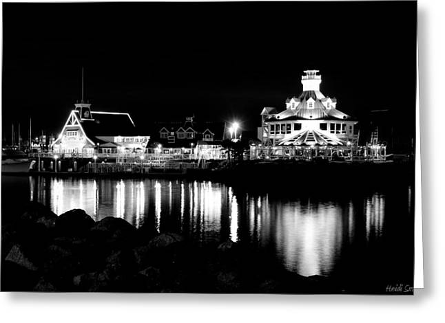 Marina Night Greeting Cards - Parkers Lighthouse Black And White Greeting Card by Heidi Smith