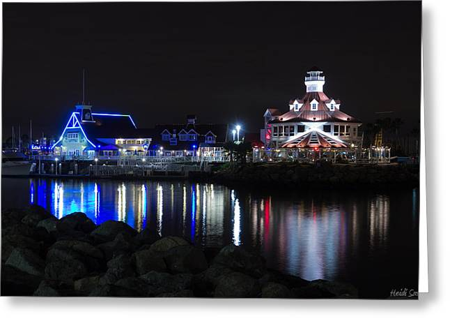 Marina Night Greeting Cards - Parkers Lighthouse Reflections Greeting Card by Heidi Smith
