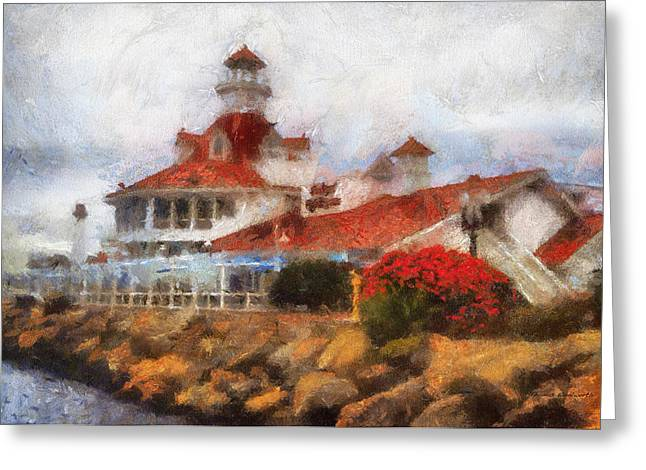 Pacific Ocean Prints Digital Art Greeting Cards - Parkers Lighthouse Restaurant Photo Art Greeting Card by Thomas Woolworth