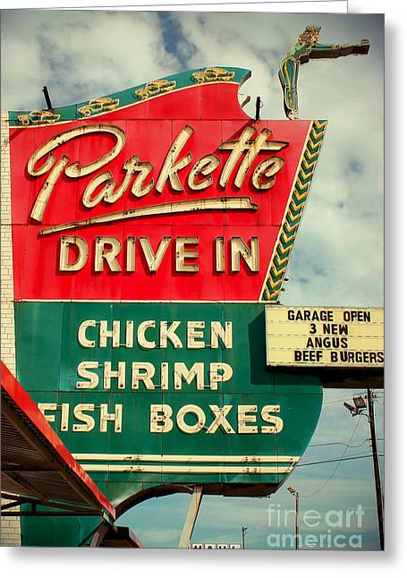 Rock N Roll Greeting Cards - Parkette Drive-In Greeting Card by Jim Zahniser