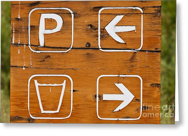 Handpainted Icon Greeting Cards - Parking drinking water hand painted wooden sign Greeting Card by Stephan Pietzko
