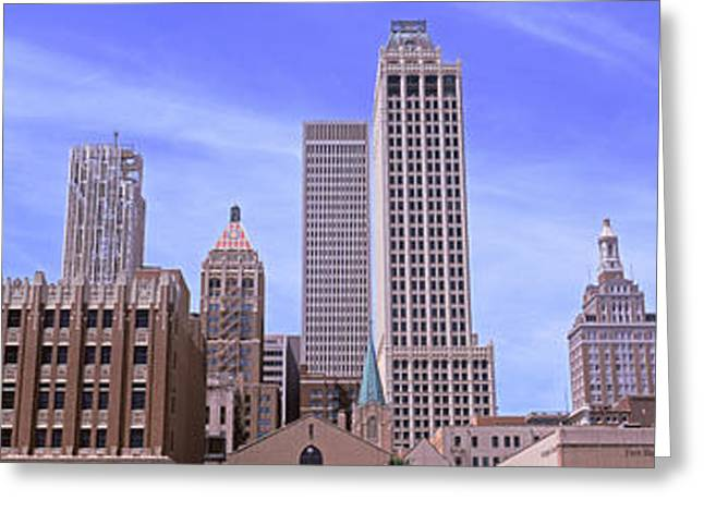 Parking Lots Greeting Cards - Parking Lot At Downtown Tulsa Greeting Card by Panoramic Images
