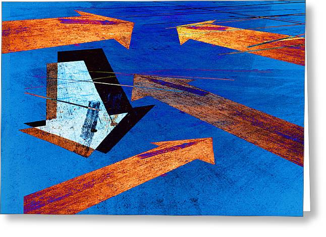 Arrow Abstract Greeting Cards - Parking Lot Pavement Arrows No.22 Greeting Card by Randall Nyhof
