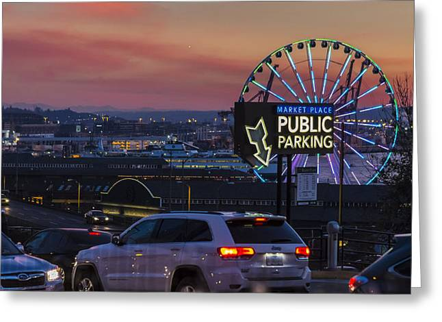 Commencement Bay Greeting Cards - Parking Wheel Greeting Card by Scott Campbell