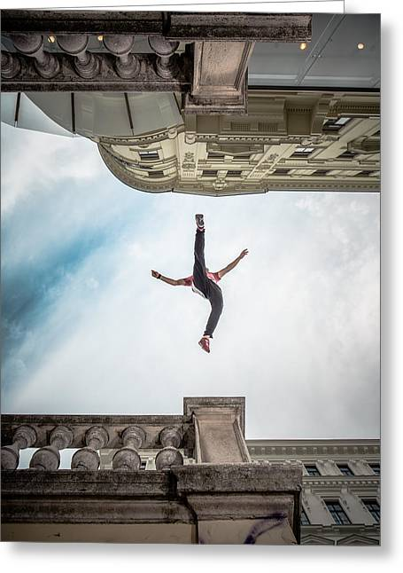 Parkour Vienna Greeting Card by Sebastian Wahlhuetter