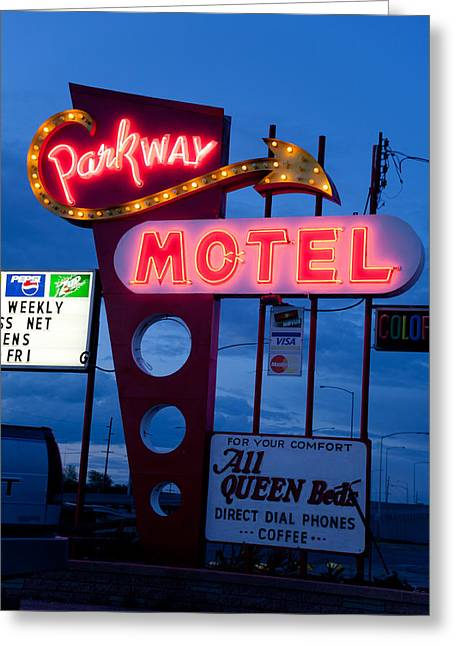 Old Signage Greeting Cards - Parkway Motel Greeting Card by Matthew Bamberg