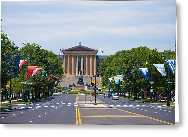 Parkway Digital Greeting Cards - Parkway View of the Museum of Art Greeting Card by Bill Cannon