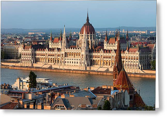 Neogothic Greeting Cards - Parliament Building in Budapest at Sunset Greeting Card by Artur Bogacki