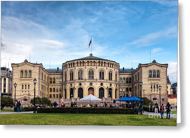Oslo Greeting Cards - Parliament building storting in Oslo Norway Greeting Card by Frank Bach