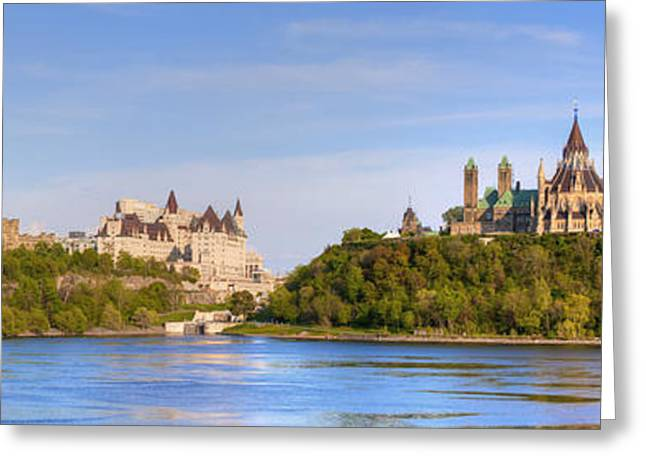 Chateau Greeting Cards - Parliament Buildings And The Fairmont Greeting Card by David Chapman