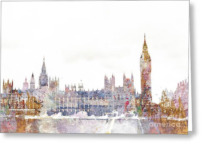 Clocktower Greeting Cards - Parliament Color Splash Greeting Card by Aimee Stewart