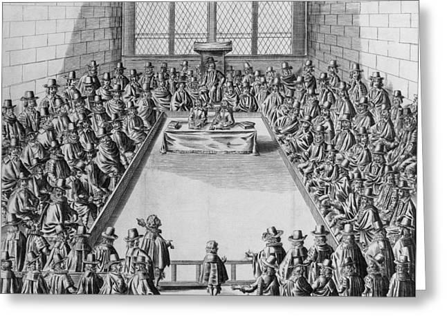 Politics Prints Greeting Cards - Parliament During The Commonwealth, 1650 Engraving Bw Photo Greeting Card by French School