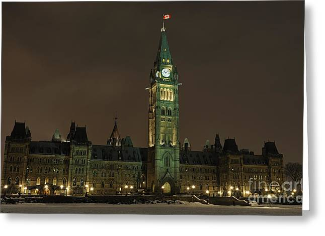 Winter Night Greeting Cards - Parliament Hill Greeting Card by Nina Stavlund