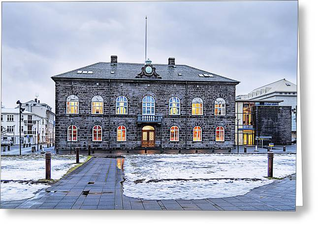 Town Square Greeting Cards - Parliament House Greeting Card by Maria Coulson