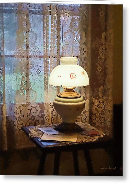 Designs By Susan Greeting Cards - Parlor With Hurricane Lamp Greeting Card by Susan Savad