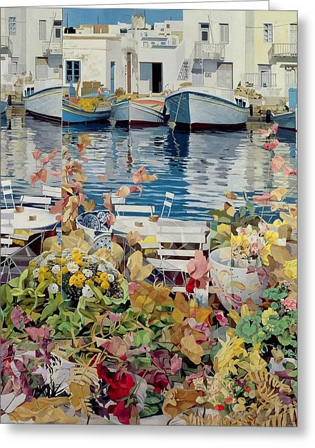White House Paintings Greeting Cards - Paros Greeting Card by Jeremy Annett