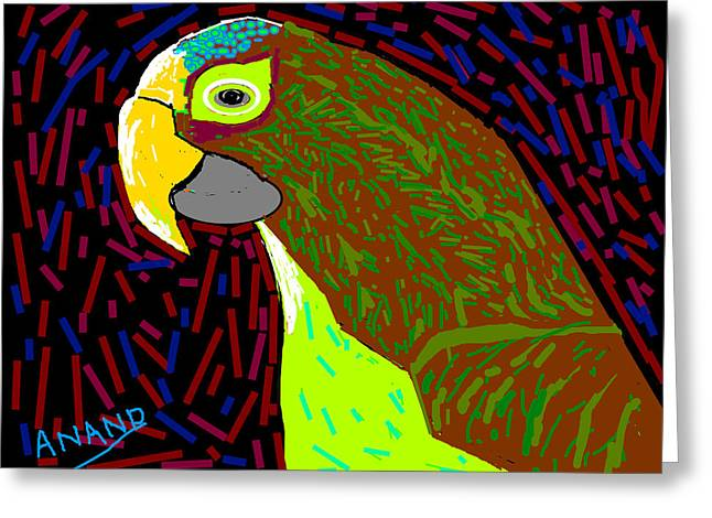 Parrot-3 Greeting Card by Anand Swaroop Manchiraju